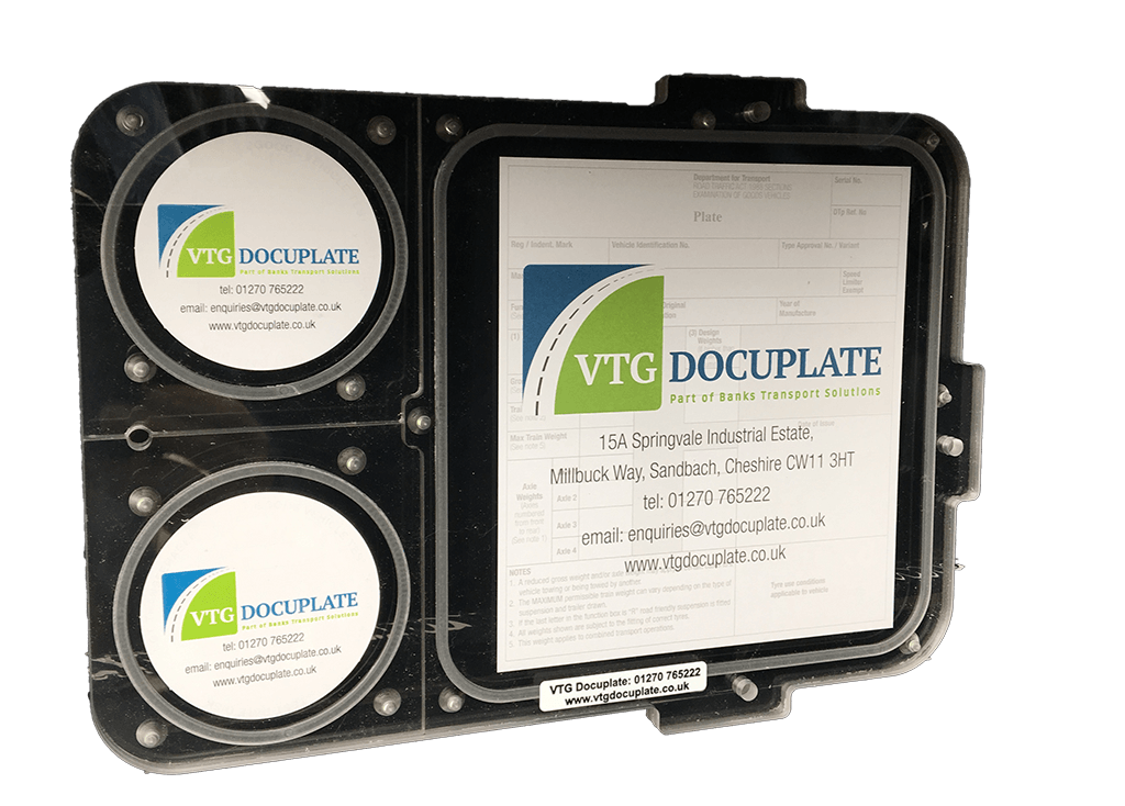 PET DOCUPLATE - 2 disc VTG document holders for general petroleum tanks